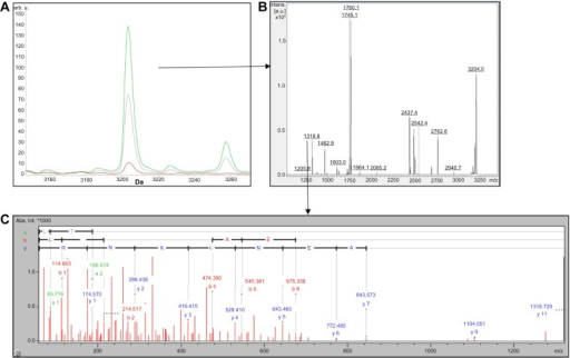 (A) Comparison of MADLI-TOF mass spectra of SCX fractionated HAPD plasma showing m/z 3203 region analyzed by ClinproTools. The average spectra from CTRL (red) and FHS (green) groups represent the cumulative results of three pooled samples from nine birds. (B) Peptide mass fingerprint (PMF) of 3203 Da peptide. (C) Tandem mass spectrometry (MS/MS) of 1318 Da tryptic fragment derived from 3203 Da peptide.