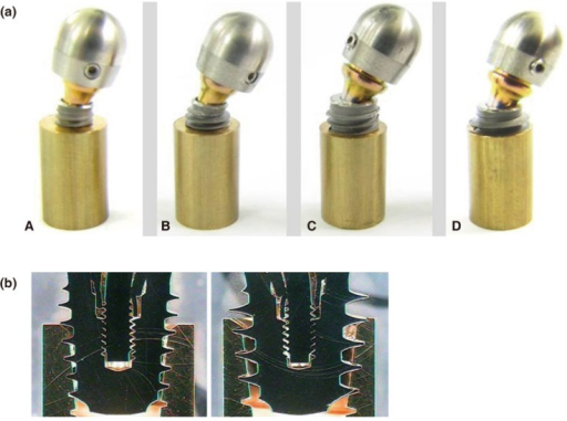 (a) The failure mode of group A (A), group B (B), group C (C), and group D (D) after the static compressive strength tests. The deformation was observed in the implant body and the abutment but not the threads. (b) The thread morphology of group C (A) and group D (B) after the static compressive strength tests. Breakage was not observed in the threads in the Ti implants with deeper threads.