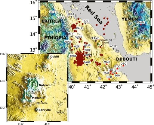 Seismic stations used in our study (inverted blue triangles and red diamonds indicate temporary and permanent stations, respectively) and regional seismicity (red dots) from the USGS catalogue for the period 1960–2011. The green triangle locates Nabro. Inset map shows the volcanoes in the Bidu Volcanic Complex (coverage of the red box in the larger map)