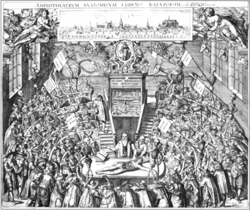 An anonymous engraving of an anatomical dissection session being conducted in full public view in the anatomical theatre in University of Leiden (the Netherlands) which was built in 1596. The illustration is based on a drawing by J.C. vant Woudt in 1609. Image in public domain.