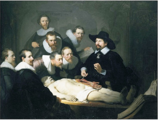 The anatomy lesson of Dr. Nicolaes Tulp, official city anatomist of the Amsterdam Guild of Surgeons, drawn by Rembrandt in 1632. Anatomical dissection sessions were social events in those days being attended by students as well as the general public on payment of an entrance fee. All the spectators were properly dressed for a solemn social occasion. Image in public domain.