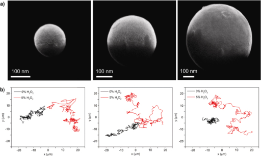 Fabrication and motion of Janus SiO2 nanospheres. (a) Scanning electron microscope images of a Janus SiO2 nanosphere with Pt (3 nm), and (b) their trajectory tracking, both with and without H2O2 fuel. Left to right: Janus SiO2 nanospheres of 125 nm, 330 nm, and 650 nm.