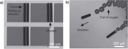 Roll-up fabrication of microjets and self-propulsion. (a) 200 μm-long rolled-up microtube on a patterned glass substrate. (b) Microtubes self-propelling in 10% H2O2 fuel.