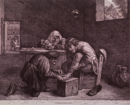 <p>Interior scene of a barber-surgeon treating the foot of a man who sits on the right.</p>