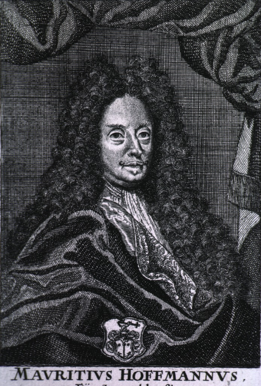 <p>Seated, right pose, long curls, etc., coat-of-arms.</p>