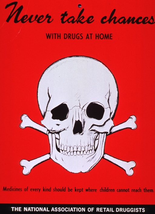 <p>Red poster with black and white lettering.  Title at top of poster.  Visual image is an illustration of a skull and crossbones.  Caption below illustration.  Publisher information at bottom of poster.</p>