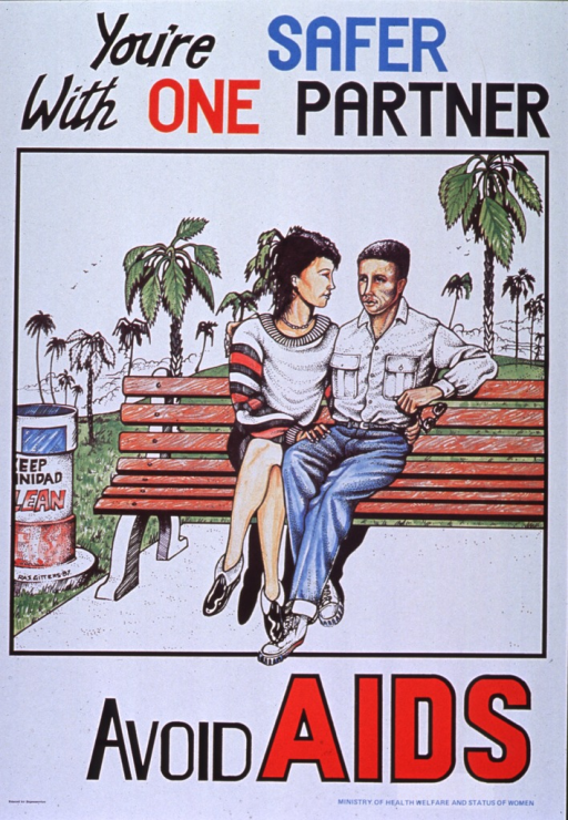 <p>White poster with multicolor lettering.  Title at top of poster.  Visual image is a color illustration of a man and woman sitting together on a park bench.  Caption below illustration.  Publisher information in lower right corner.</p>