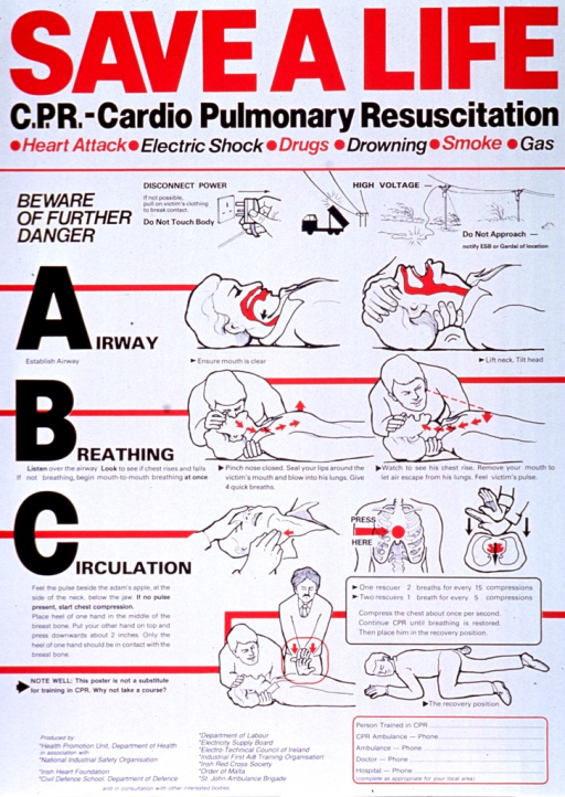 <p>Predominantly white poster with red and black lettering.  Title at top of poster.  Poster dominated by text explaining CPR, broken down into three major categories:  airway, breathing, circulation.  Visual images are principally line drawings of a victim being rescued with emphasis on establishing an airway, how to perform mouth-to-mouth breathing, and how to perform chest compressions.  Publisher and sponsor information in lower left corner.</p>