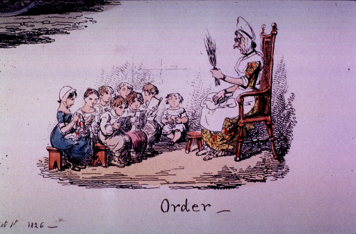 <p>Children are sitting on benches; some with books in front of them, others are sewing.  A stern looking woman, holding a switch, is sitting in a chair facing the children.</p>