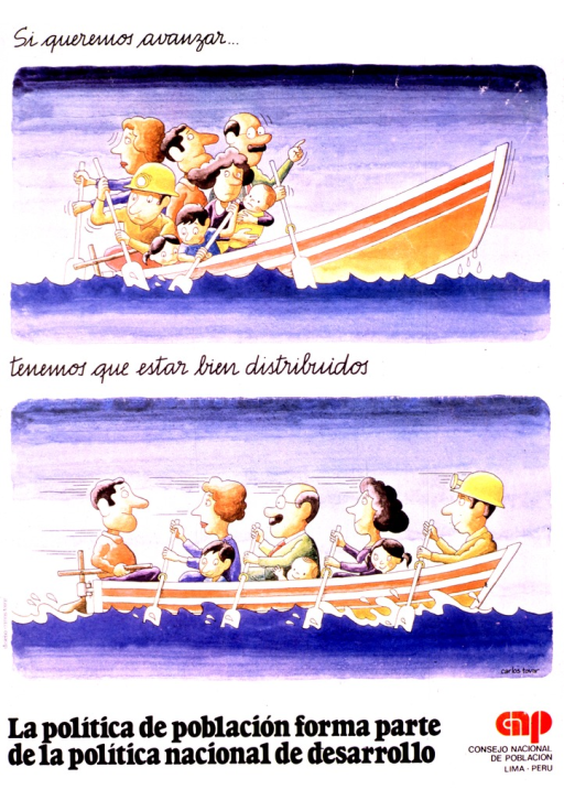 <p>Multicolor poster with black lettering.  Initial title phrase at top of poster.  Illustration below shows eight people crowded into the back of a boat.  As a result, the front of the boat is not in the water.  Remaining title phrase below illustration.  A second illustration shows the people sitting at regular intervals in the boat and now able to paddle effectively.  Caption and publisher information at bottom of poster.  Caption suggests that the politics of population is part of the politics of national development.</p>