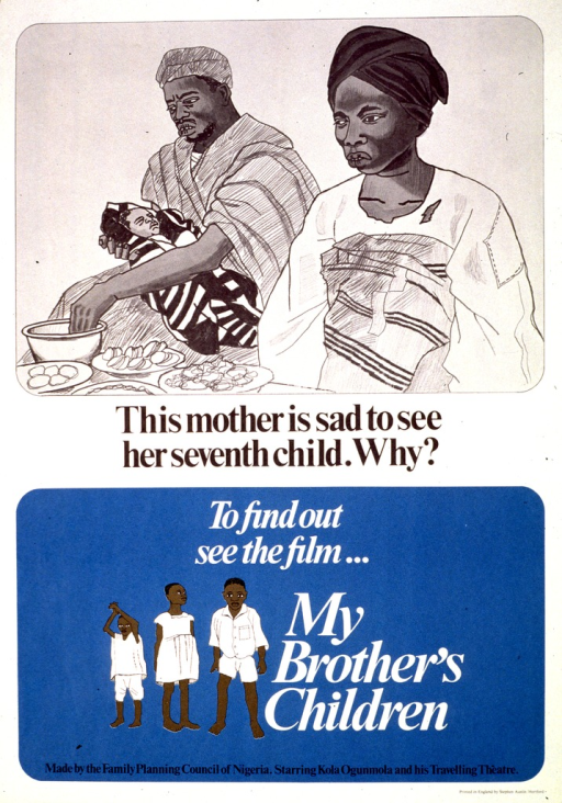<p>White and blue poster with black and white lettering.  Top of poster features an illustration of a father feeding his infant by hand while the mother stands by.  Title below illustration.  Caption below title, along with an illustration of three children.  Publisher information at bottom of poster.</p>