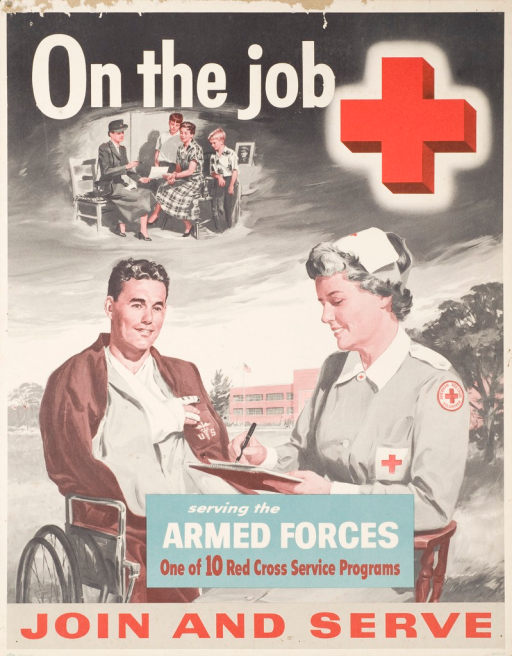 <p>Multicolor poster with white and red lettering. Dominant image is an American Red Cross volunteer with a pad and pen sitting in a chair next to a wounded soldier with a U.S. Medical Corp insignia on his shirt. The volunteer appears to be writing a letter for the soldier. In a small image above, a woman and 2 children, presumably his wife and kids, are being handed the letter by another American Red Cross volunteer. A large Red Cross symbol appears in the upper right-hand corner. Title above image. Notes below image. Illustrator signature in lower right-hand corner.</p>