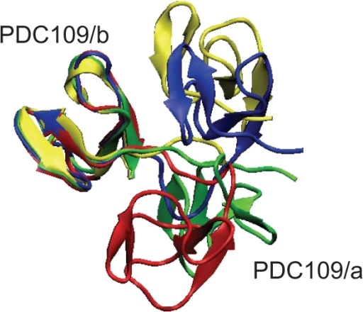 Snapshots of PDC109 during the MD simulations.Structures of the PDC109-PhC complex at 200 ns (red) and 350 ns (blue) and of ligand-free PDC109 at 350 ns (green) are compared against the X-ray crystallographic structure (yellow) via a best-fit of PDC109/b [74].