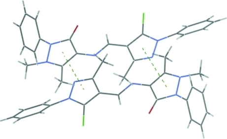 Part of the crystal structure showing intermolecular π–π interactions as dashed lines.