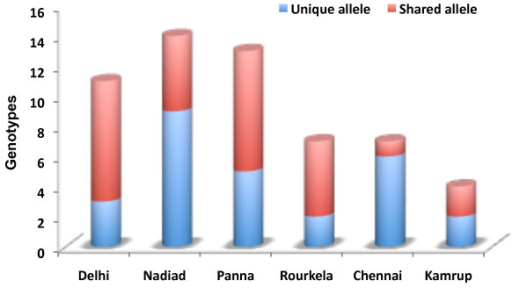 Number of unique and shared pvrbp-2 genotypes among study sites.
