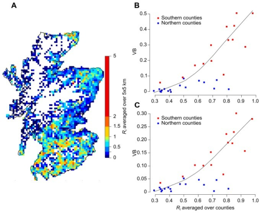 Influence of Ri on the benefit of the vaccination policy.Spatial distribution of the farm-level basic reproductive ratio, Ri (A) and its relation with the FMD vaccination benefit (VB) in Scotland. Vaccination benefit was measured based on the number of infected premises (B) and the epidemic duration (C) in the situation where 1 premise was infected at first detection (early detection). Values of Ri show in B and C are the average across all farms in each county. Note also that county-level estimates in B and C were grouped into the two areas as defined in this study (Figure 2). The colour scale used in the map shows the average value in a 5 × 5 km grid lattice. Estimates of Ri were computed based on the Scottish Agricultural Census June 2011 and using the method described in [15]. Solid curve in B and C represents the smooth fit to better visualize trends in the data set. The fit was generated using the locally weighted scatter plot smoother (LOWESS) method.