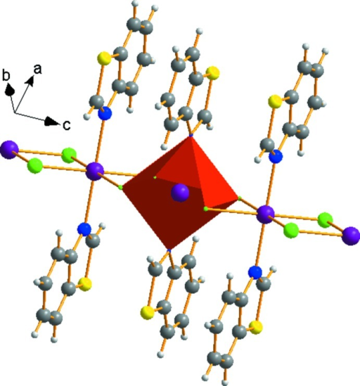The coordination around the MnII ion in a chain of octahedra parallel to the c axis