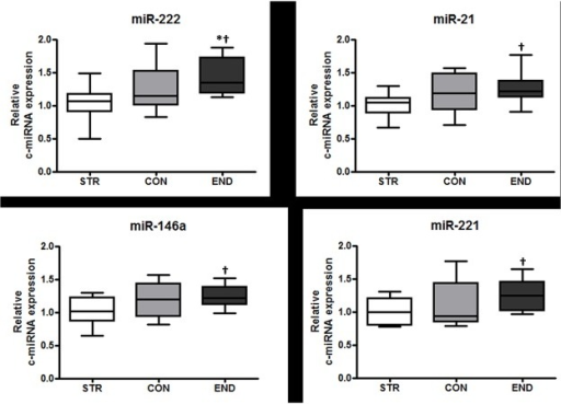 Relative expression levels of miR-222 (A), -21 (B), -146a (C), and -221 (D) in STR, CON and END.Box plots depict the range (upper and lower whiskers), median (centre line) and interquartile range (edge of boxes). * significantly different between all groups (One way ANOVA; p < 0.05); † significantly different from STR (t-test; p < 0.05).