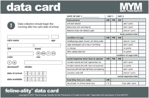 Original ASPCA® Meet Your Match® Feline-ality™ program data card from the Original Assessment Group.