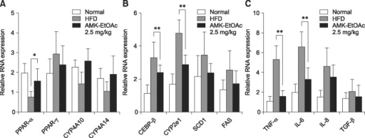 Effects of HFD and treatment with EtOAc extract of AMK on hepatic mRNA expression. Expression of regulation genes such as (A) hepatic fatty acid, (B) adiopogenesis and (C) inflammation was measured in the hepatocytes of mice fed ND, HFD, or HFD plus EtOAc extract of AMK (2.5 mg/kg) for 15 weeks. Data are the means ± SD of 10 mice in each group. *p < 0.05, **p < 0.01 vs. HFD-fed mice.
