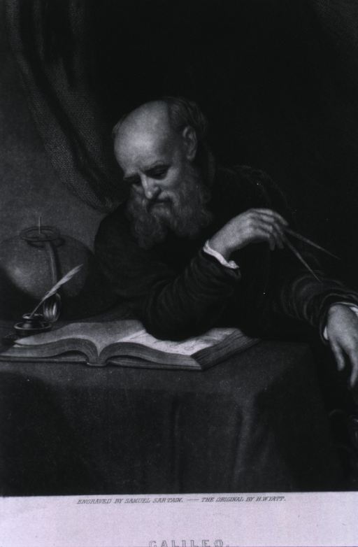 <p>Seated, right pose; reading; right elbow on book; holding compass in right hand.</p>