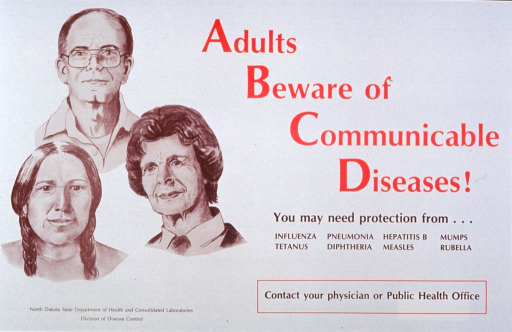 <p>Cream poster with red and brown lettering.  Title in upper right corner.  Caption below title.  Visual image is an illustration of three adults, one man and two women.</p>