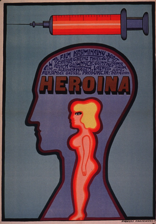 <p>Predominantly green poster with multicolor lettering.  Visual images are illustrations of a syringe and a profile of a head.  Title and additional text fill the top of the head; an illustration of a woman is also contained within the head.  Publisher information in lower right corner.  Poster adverstises a German crime movie, ca. 1968.</p>