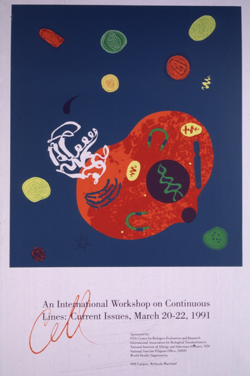 <p>White poster with a large teal square covering most of the space.  Inside the square are various circles and figures, all in different colors and sizes, representing cells.  The bottom portion of the poster lists the location and dates for the workshop.</p>