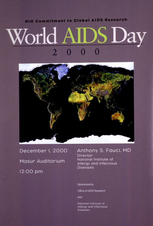 <p>Gray/green poster with an insert showing a map of the world, with the continents in shades of green, yellow, and brown and the oceans and seas in a deep blue.</p>