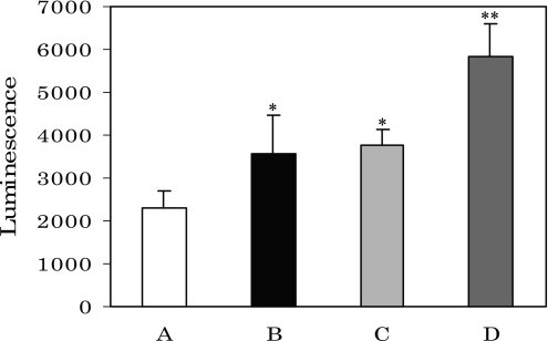 Superoxide generation in rat serum caused by corticosterone injection. A, control; B, rats injected by corticosterone; C, Fe(NO3)3-added A; D, Fe(NO3)3-added B. *p<0.05 vs A, **p<0.01 vs B; means ± SE, n = 9 for each group of rats.