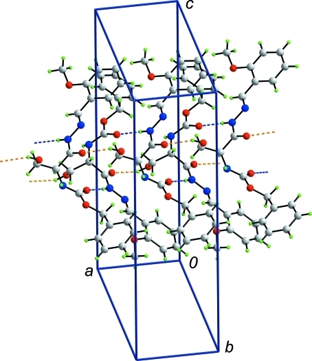 The supramolecular double-chain aligned along the a axis in the crystal structure of (I) formed through the agency of intermolecular O–H···O and N–H···O hydrogen bonding interactions shown as orange and blue dashed lines, respectively.