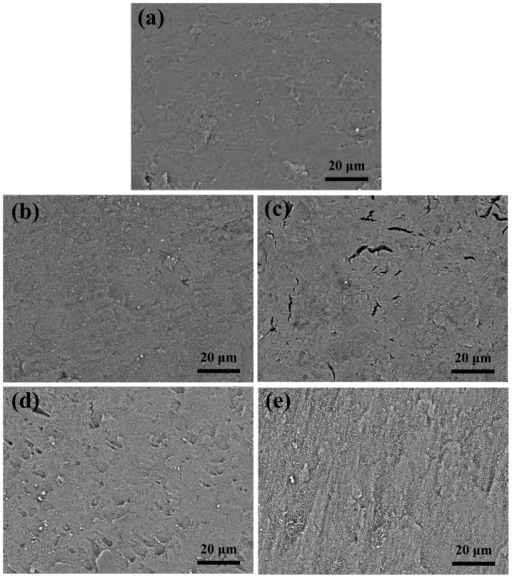 The SEM surface morphologies of the LAP compact.The LAP compact (a) before and (b–e) after sintered. (b) Sample #2, (c) Sample #3, (d) Sample #5, and (e) Sample #4. See Table 1 for sample information.