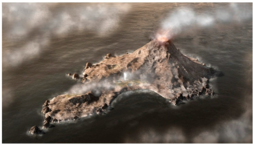 Computer generated conceptual view of a volcanic island rising above the global early Archaean ocean. Precipitation produces small hydrothermal pools that undergo cycles of evaporation and refilling (hydrothermal field and geyser shown at center of island).