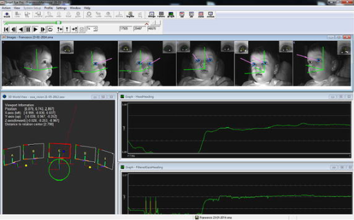 SmartEye Graphical User Interface (GUI). In the upper bar it is possible see the pink vectors that represent the infant's gaze vector; in the lower window on the left, there is the 3D representation of the external 3D setup with the visualisation of gaze intersection on a object modelled in the 3D world (i.e. the gaze vector intersects screen n.3) and on the right there are the typical gaze heading and head heading signal profiles