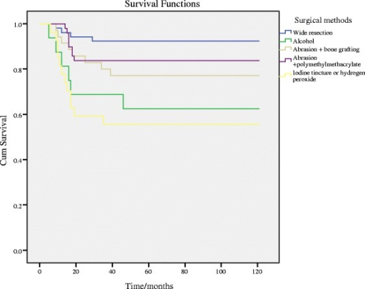 Kaplan-Meier analysis and the log-rank test among the influence of different surgical methods
