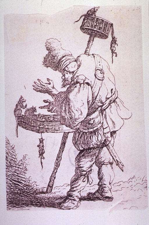 <p>Full length view of a hunchbacked man standing with his equipment for catching rats, with some rats already trapped.</p>