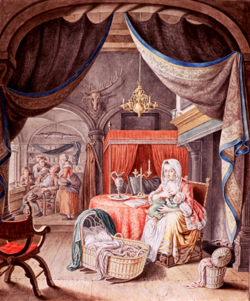 <p>Interior scene showing a nursing mother, and in the background, a tooth extraction is taking place.</p>