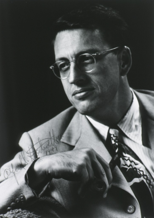 <p>Head and shoulders, left pose; wearing glasses; holding pipe.</p>