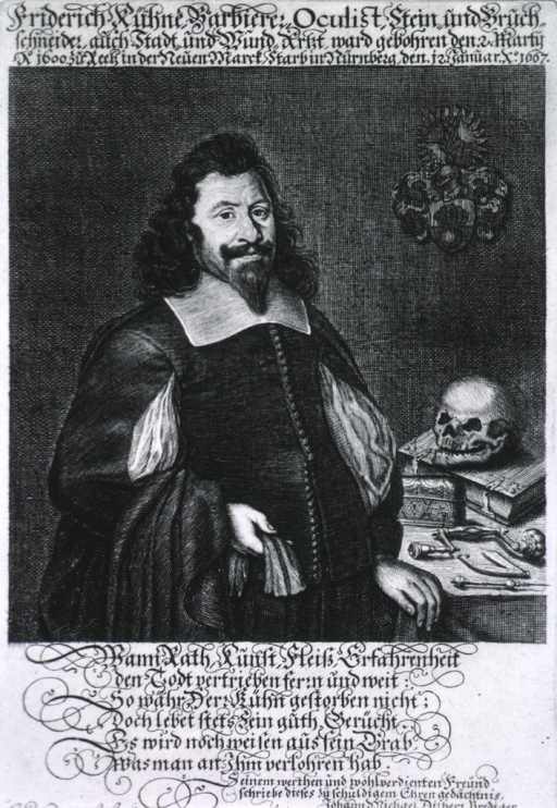 <p>Half-length, standing, right pose, full face; books, skull, and instruments on table to right.</p>