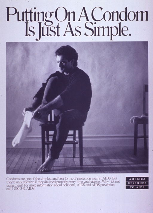 <p>Predominantly white poster with black and white lettering.  Title at top of poster.  Visual image is a b&amp;w photo reproduction featuring a man putting a sock on his foot.  Caption below photo.  Note, presented as a logo, in lower right corner.</p>