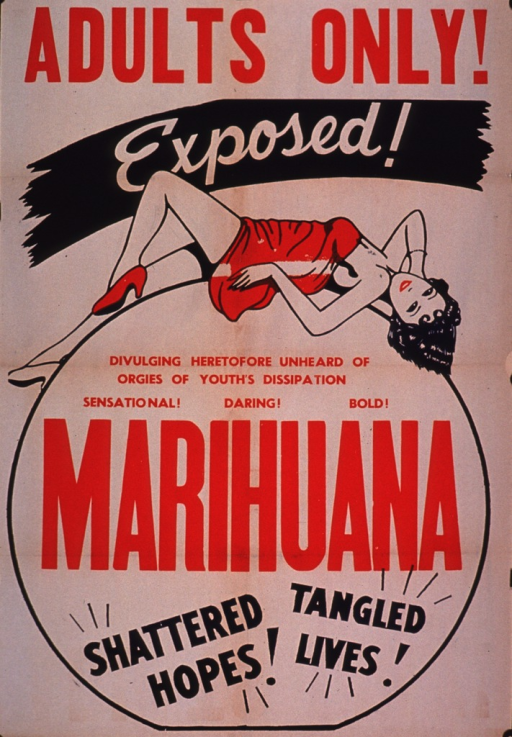 <p>Predominantly discolored white poster wih red and black lettering.  Note text in upper portion of poster.  Visual image is an illustration of a scantily clad woman reclining on the outline of the circle that encloses some note text and the title.  Title in lower portion of poster.</p>
