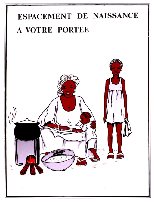 <p>White poster with black lettering.  Title at top of poster.  Visual image is a color illustration showing a mother and her two children.  The mother is seated and cooking over a nearby fire.  One full bowl rests on the ground and another in her lap.  Her young son eats from the bowl in her lap and her school-aged daughter stands nearby, apparently holding a bookbag.</p>