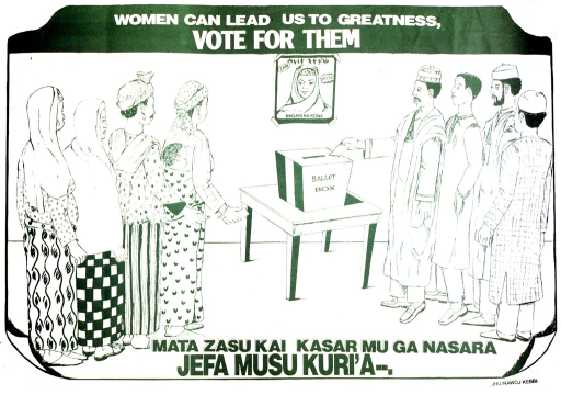 <p>Green and white poster.  Title at top of poster.  Visual image is an illustration of people standing in sex-segregated lines to cast their votes.  A poster of a woman hangs on the wall above the ballot box.  Caption near bottom of poster may be a Hausa translation of the title.  Publisher information in lower right corner.</p>