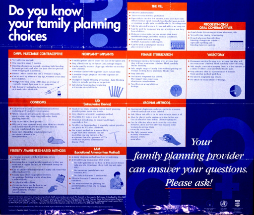 <p>Blue poster with white and blue lettering.  Title in upper left corner.  Poster describes eleven general types of contraception.  Visual images are small illustrations of cards of pills, a syringe for injections, implants, reproductive anatomy, a condom, an IUD, a diaphragm, aids for natural family planning, and a breastfeeding mother.  Note in lower right corner.  Publisher and sponsor information in lower left corner.</p>