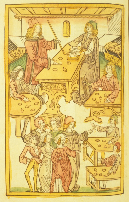 <p>Hand-colored woodcut of a workshop dedicated to the manufacture of precious stones and gems.</p>