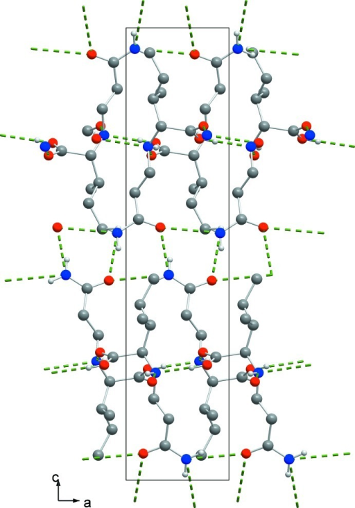 View of the unit cell of the title compound along [010]. Hydrogen bonds are drawn as dashed green lines. For clarity, hydrogen atoms not involved in the hydrogen bonding are omitted.