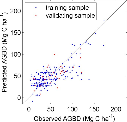 Comparison of observed AGBD (Mg C ha-1) against predicted AGBD using MTE algorithm.The blue dots indicate the training samples (R2 = 0.57, RMSE = 22.4 Mg C ha-1), and the red ones refer to the validation samples (R2 = 0.46, RMSE = 22.7 Mg C ha-1).