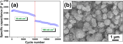 (a) Cycling performance of the CuS/CNT electrode with a loading of 8 mg cm−2 measured by charge-discharge; (b) SEM image of the CuS/CNT electrode with a loading of 8 mg cm−2 after 20000 cycles.