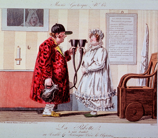 <p>A man and a woman standing together in nightclothes each holding a long-necked funnel; the man also holds a pitcher; to the right is a wheeled commode.</p>