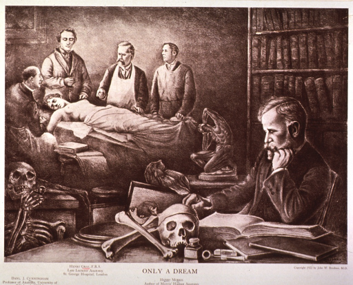<p>Showing Henry Gray, Daniel J. Cunningham and Henry Morris standing by a cadaver.</p>